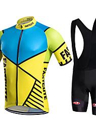 billige -Fastcute Herre Kortærmet Cykeltrøje og shorts med seler - Sort Cykel Tights Med Seler / Trøje / Tøjsæt, Hurtigtørrende, Åndbart Coolmax®