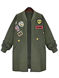 cheap -Women's Plus Size Jacket - Solid, Patchwork