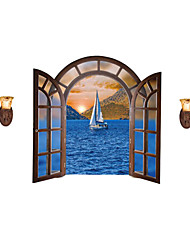 cheap -European Landscape Fake Window Wall Decals Cartoon Decals Landscape Stickers Nursery Children's Room for Home Decor