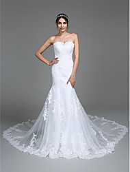 cheap -Mermaid / Trumpet Sweetheart Neckline Cathedral Train Lace Over Tulle Made-To-Measure Wedding Dresses with Beading / Appliques by LAN TING BRIDE®