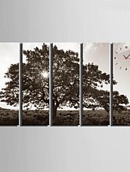 Модерн Прочее Настенные часы,Прямоугольный Холст 24 x 70cm(9inchx28inch)x5pcs/ 30 x 90cm(12inchx35inch)x5pcs В помещении Часы