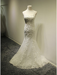 cheap -Mermaid / Trumpet Sweetheart Court Train Tulle Wedding Dress with Beading Appliques by LAN TING BRIDE®