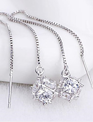 cheap -Women's Tassel Sterling Silver Zircon - Tassel Cute Party Work Casual Fashion Adorable Square For Wedding Party Daily Casual