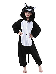 cheap -Kigurumi Pajamas Cat Onesie Pajamas Costume Polar Fleece Black/White Cosplay For Children's Animal Sleepwear Cartoon Halloween Festival /