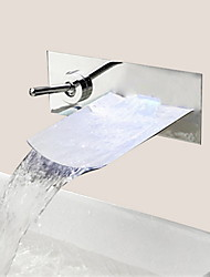 Stylish Chrome Finish Waterfall Wall Mount Bathroom Sink Faucet - Silver