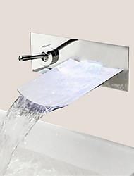 Moderne Montage mural Jet pluie with  Soupape céramique 1 trou Mitigeur un trou for  Chrome , Robinet lavabo