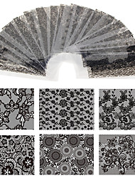 cheap -20 Sheet 20cm*4cm Black Lace Flower Transfer Foil Nail Art Sexy Design Sticker Decal For Polish Care