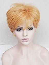 abordables -Pelucas sintéticas Recto Corte asimétrico / Con flequillo Pelo sintético Entradas Naturales Marrón Peluca Mujer Corta Sin Tapa