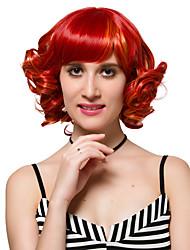 Femme Perruque Synthétique Court Rouge Perruques sans bonnet Perruque Déguisement
