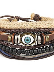 cheap -4pcs/set Punk Men's Bracelet PU Leather Bracelet Evil Eye Multicolor Beads Multilayer for Men Fashion Jewelry Christmas Gifts