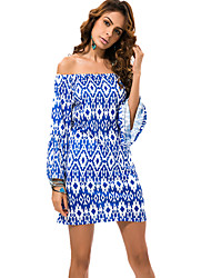 cheap -Women's Plus Size Beach Boho Flare Sleeve Shift Dress Blue, Print High Rise Boat Neck