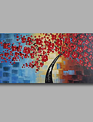 Stretched (Ready to hang) Hand-Painted Oil Painting 100cmx50cm Canvas Wall Art Modern Heavy Oil Red Flowers