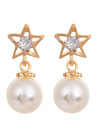 cheap -Women's Girls' Star Pearl Gold Plated Drop Earrings - Party Casual Fashion European Round Star For Wedding Party Daily Casual