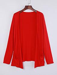 Longue Cardigan FemmeCouleur Pleine Bleu Rose Rouge Noir Gris Col Arrondi Manches Longues Coton Lin Autres Automne Fin Micro-élastique