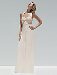 A-Line Halter Floor Length Chiffon Bridesmaid Dress with Buttons Criss Cross