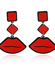 cheap -New Fashion Big Brand Classic Luxurious Elegant Sexy Women Red Lips Acrylic Drop Earrings For Women Girls Long Earring