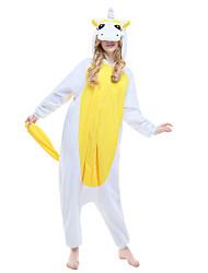 cheap -Kigurumi Pajamas Unicorn Onesie Pajamas Costume Polar Fleece Yellow Cosplay For Adults' Animal Sleepwear Cartoon Halloween Festival /