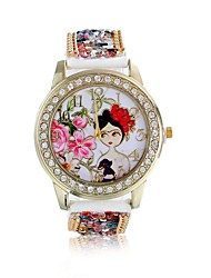 cheap -Women/Lady's Cute Special Beautiful Girl Case Acrylic Beads Leather Band Fashion Watch Strap Watch