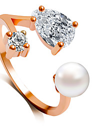 abordables -Femme Anneau de bande Argent Rouge Rose Doré Imitation de perle Acrylique Alliage Mode Mariage Bijoux de fantaisie