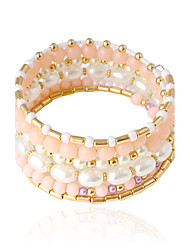cheap -Women's Bangles Imitation Pearl Imitation Pearl Alloy Tube Jewelry Wedding Party Daily Casual Costume Jewelry White/Pink