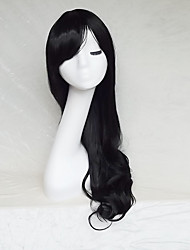 cheap -Synthetic Wig Wavy Asymmetrical Haircut / With Bangs Synthetic Hair Natural Hairline Black Wig Women's Long Capless