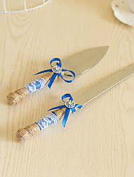 cheap -Wedding Accessories Jute Handle Cake Knife And Server Serving Set with Blue Ribbon Decoration