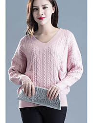 cheap -Women's Going out /Cute Regular Pullover,Solid Blue / Pink / White / Gray V Neck Long Sleeve Acrylic Spring / Fall