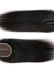 cheap -100% Hand Tied Straight Free Part / Middle Part / 3 Part Swiss Lace Human Hair