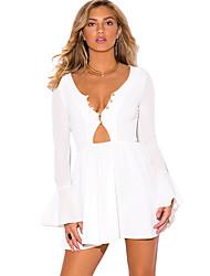 Women's Flare Sleeve|Cut Out Long Bell Sleeve Neck A Line Dress