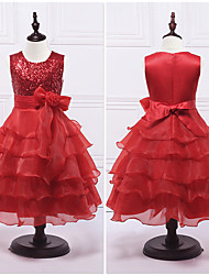 Ball Gown Tea Length Flower Girl Dress - Organza Satin Sleeveless Jewel Neck with Sequin by YDN