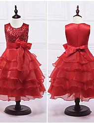 Недорогие -бальное платье чай длиной цветок девушка платье - органза сатинировка без рукавов жемчужина шея с блестками от ydn
