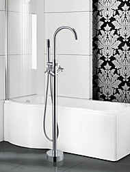 cheap -Contemporary Art Deco/Retro Modern Tub And Shower Waterfall Widespread Handshower Included Pullout Spray Floor Standing Ceramic Valve Two