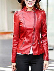 cheap -Women's Street chic Leather Jacket-Solid Colored