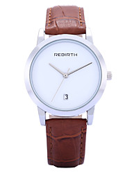 REBIRTH® Women's Simple Fashion Date Display PU Leather Strap Quartz Wrist Watch
