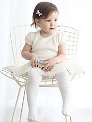cheap -Baby Girls' Solid Spring Hosiery, Cotton Micro-elastic Casual White
