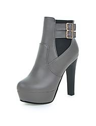 abordables -Femme Chaussures Similicuir Hiver Automne Confort Bottes à la Mode Bottes Marche Talon Aiguille Bout rond Boucle pour Décontracté Habillé