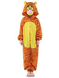 cheap -Kid's Kigurumi Pajamas Tiger Onesie Pajamas Costume Velvet Mink Orange Cosplay For Animal Sleepwear Cartoon Halloween Festival / Holiday / Christmas