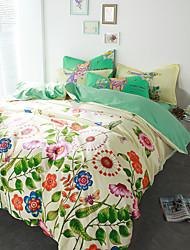 abordables -Floral Sets Funda Nórdica 4 Piezas Algodón Diseño Estampado reactivo Algodón Reina1 Funda de edredón / 2 Fundas de Almohada / 1 Sábana