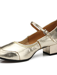 cheap -Women's Latin Shoes / Modern Shoes Leather Heel Outdoor / Practice Buckle Flat Heel Customizable Dance Shoes Silver / Golden