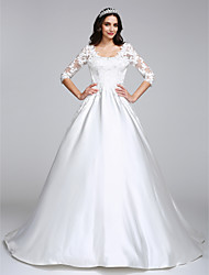 cheap -Ball Gown Scoop Neck Court Train Satin Custom Wedding Dresses with Appliques by LAN TING BRIDE®