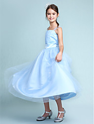 Ball Gown Straps Knee Length Satin Tulle Junior Bridesmaid Dress with Beading Draping Sash / Ribbon Ruffles by LAN TING BRIDE®