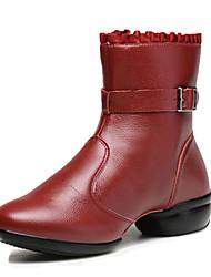Scarpe da ballo-Non personalizzabile-Da donna-Sneakers da danza moderna / Moderno-Piatto-Di pelle-Nero / Rosso