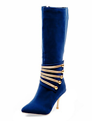 "cheap -Women's Shoes Leatherette Winter Fashion Boots Boots Stiletto Heel 12""-14""(Approx.30.48cm-35.56cm) Knee High Boots Zipper for Dress Party"