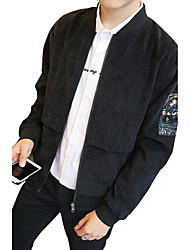 Men's Plus Size / Going out / Casual/Daily Vintage / Simple / Street chic Jackets,Solid Long Sleeve Spring / Fall Black / Gray / Green