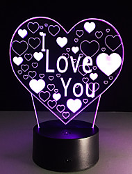 1PC Valentine's Day I LOVE YOU Colorful Vision Stereo Led Lamp 3D Lamp Light Colorful Gradient Acrylic Lamp Night Light Vision