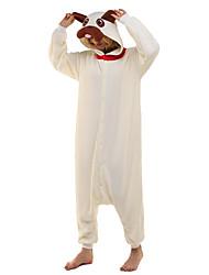 abordables -Pijamas Kigurumi Doguillo Pijamas de una pieza Disfraz Lana Polar Beige Cosplay por Ropa de Noche de los Animales Dibujos animados