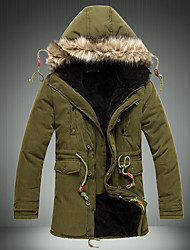 Men's Regular Padded Coat,Simple Casual/Daily Solid-Polyester Without Filling Material Long Sleeves