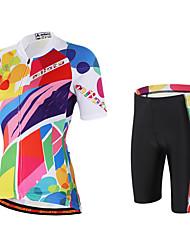 preiswerte -Miloto Damen Kurzarm Fahrradtriktot mit Fahrradhosen - Rosa Fahhrad Shorts/Laufshorts Trägerhose/Lange Radhose Mit Trägern