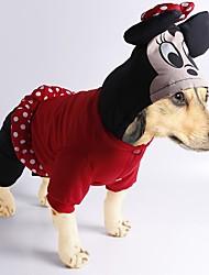 preiswerte -Hund Kostüme Mäntel Overall Hundekleidung Cartoon Design Schwarz Rot Baumwolle Kostüm Für Haustiere Herrn Damen Niedlich