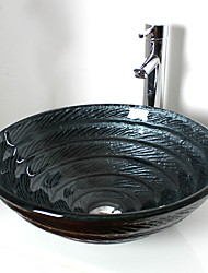billige -Moderne Rund sink Materiale er Hærdet Glas Badeværelse Håndvask Badeværelse Vandhane Badeværelse Monteringsring Badeværelse Vandafløb